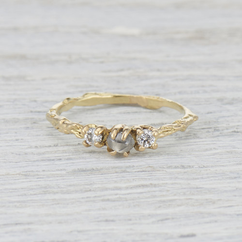 Naples Diamond Three Stone Ring by Olivia Ewing Jewelry