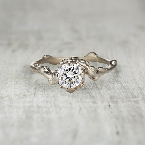 diamond solitaire twig engagement ring