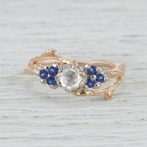 antique rose cut diamond engagement ring with sapphires