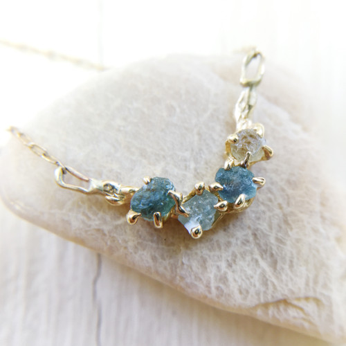handmade delicate necklace with Montana sapphire by Olivia Ewing Jewelry