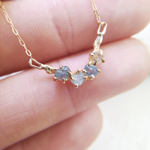Delicate handmade necklace with Montana Sapphires by Olivia Ewing Jewelry