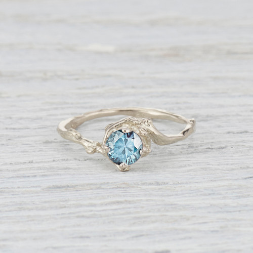 Light Teal Montana Sapphire engagement ring