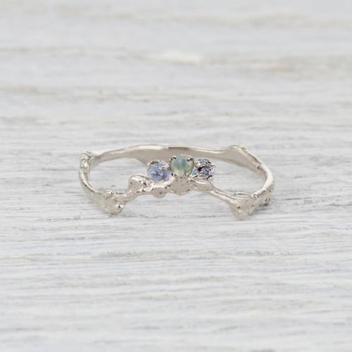 Custom Montana Sapphire Naples Contour Ring