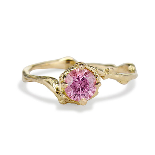 Naples Pink Sapphire Solitaire Ring by Olivia Ewing Jewelry