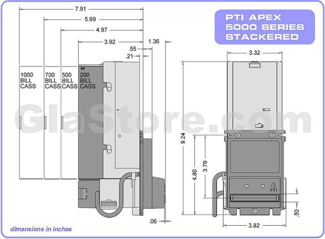Pyramid APEX 7600-U51 12V DC Stacker Accepts $1-$100