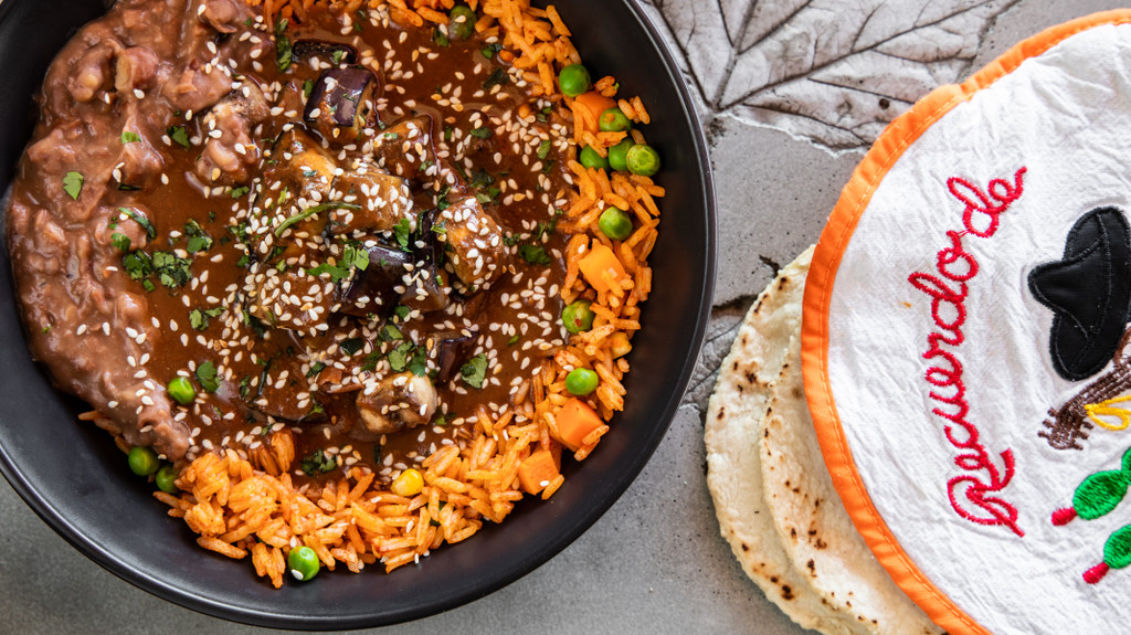 Juanitas Kitchen Mexican Mole cook with chicken or eggplant for a vegan version