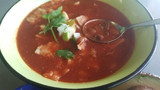 Easy Mexican style tomato, bean and tortilla soup.