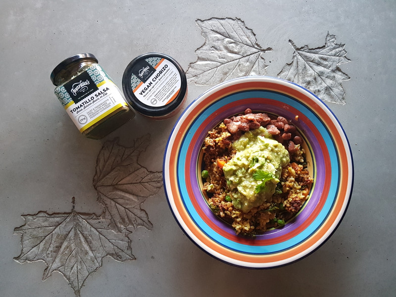 Healing Turmeric rice with Vegan Chorizo and Avocado Mash