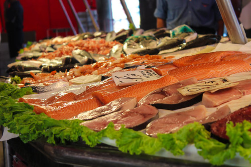 A truly pungent stench of kippers, sardines, and anchovies, all at the market stall.