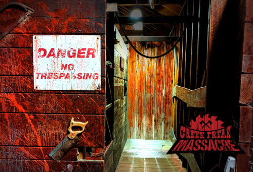 Thorpe Park Resort's Creek Freak Massacre scare maze is praised for its horrifying atmosphere. Own the fear with its distinctive stench of blood, rusty metal and raw flesh!
