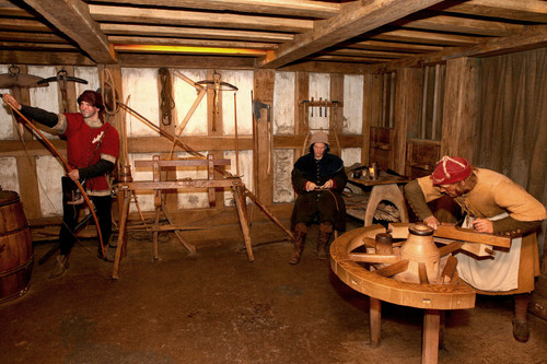 The musty scent of hay, dirt, old wood and metal found in the workshops of Warwick Castle's Kingmaker experience!