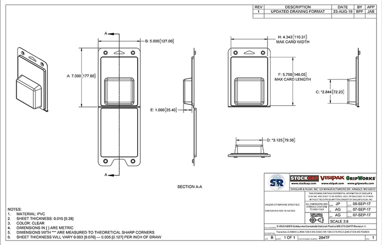 284TF - Stock Clamshell Packaging Technical Drawing