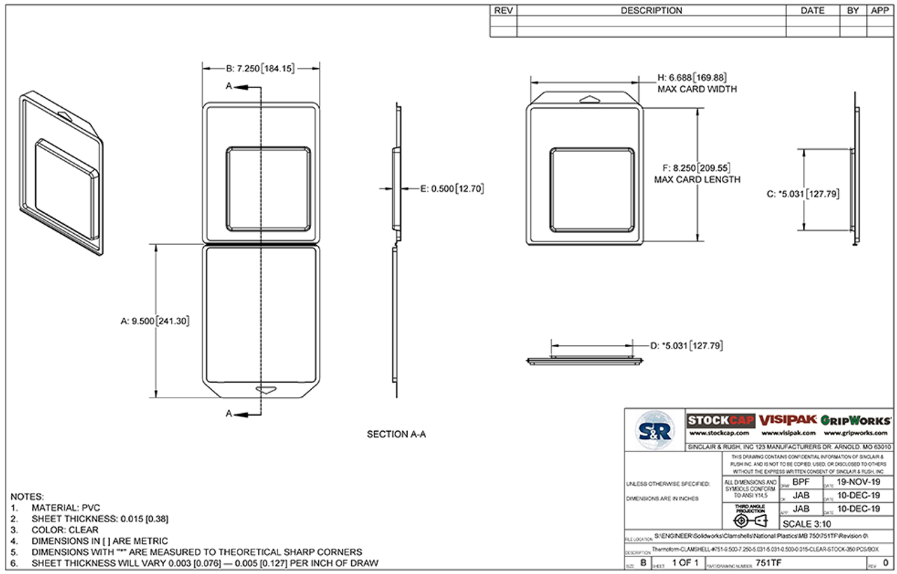 751TF - Stock Clamshell Packaging Technical Drawing