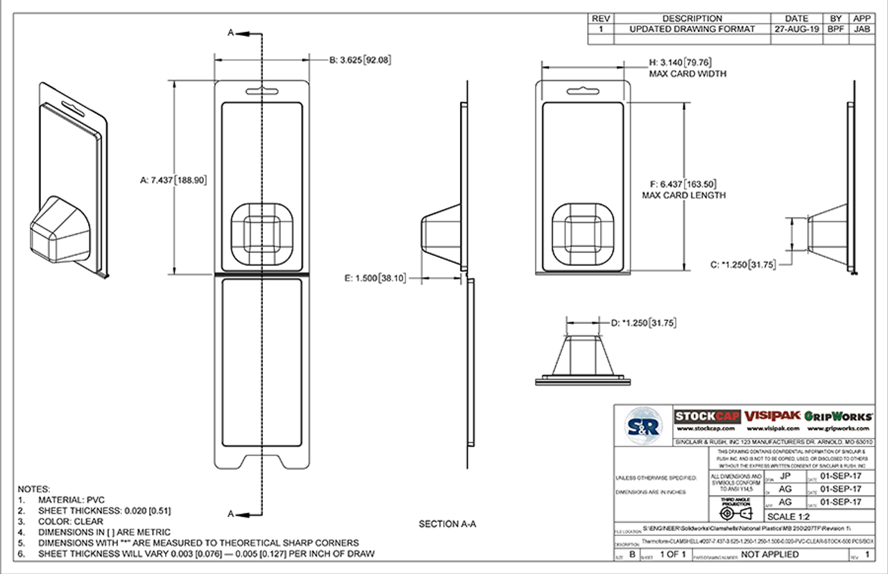 207TF - Stock Clamshell Packaging Technical Drawing