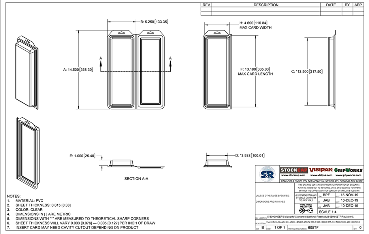 605TF - Stock Clamshell Packaging Technical Drawing