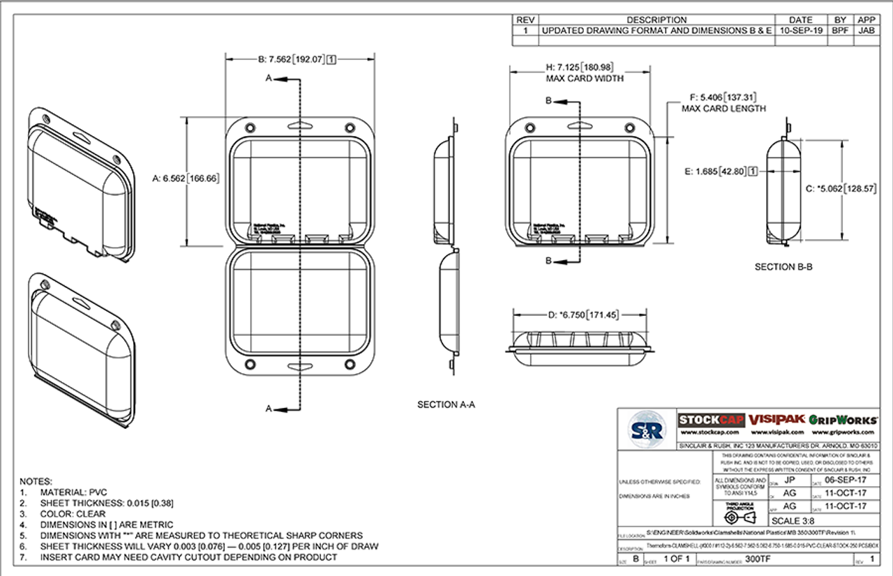 300TF - Stock Clamshell Packaging Technical Drawing