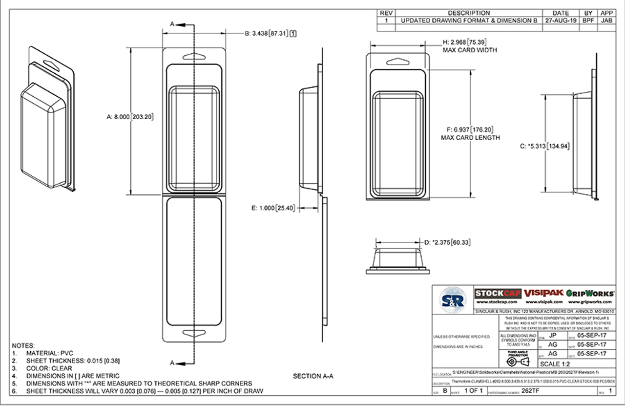 262TF - Stock Clamshell Packaging Technical Drawing