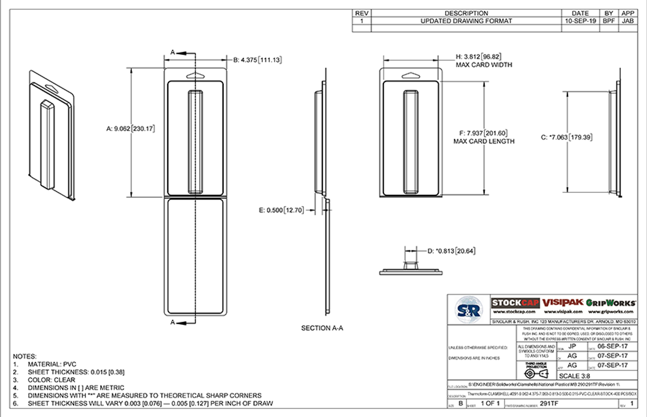 291TF - Stock Clamshell Packaging Technical Drawing