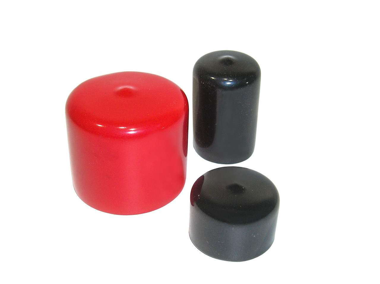 """1-1/8"""" x 1-1/2"""" Round Tuff Pak Cap - 200 in Red or Black"""