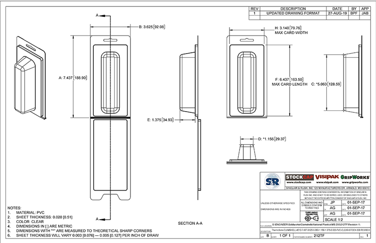 212TF - Stock Clamshell Packaging Technical Drawing
