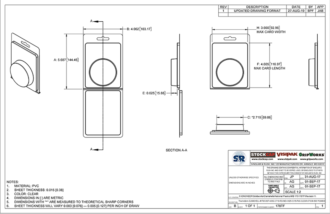 178TF - Stock Clamshell Packaging Technical Drawing