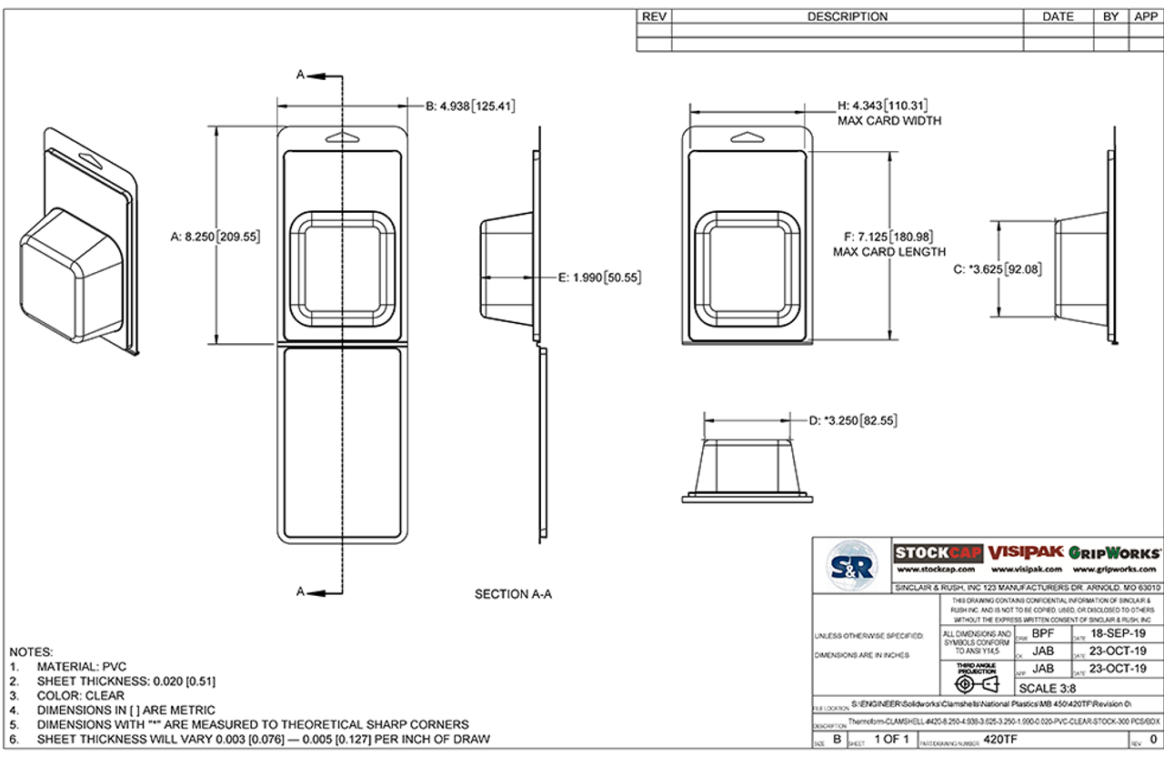420TF - Stock Clamshell Packaging Technical Drawing