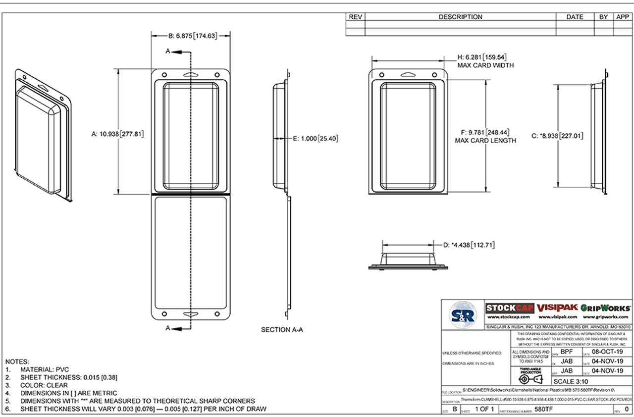 580TF - Stock Clamshell Packaging Technical Drawing