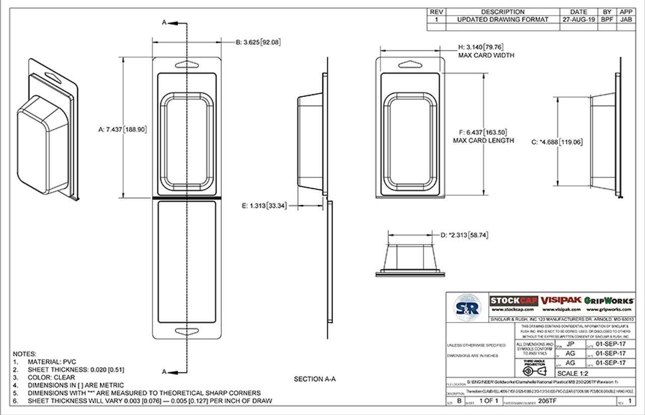 206TF - Stock Clamshell Packaging Technical Drawing