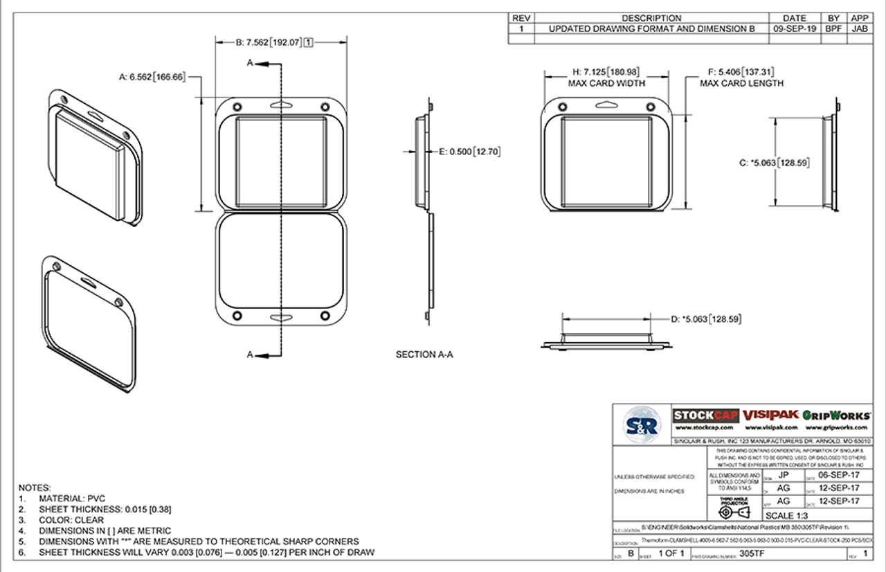 305TF - Stock Clamshell Packaging Technical Drawing
