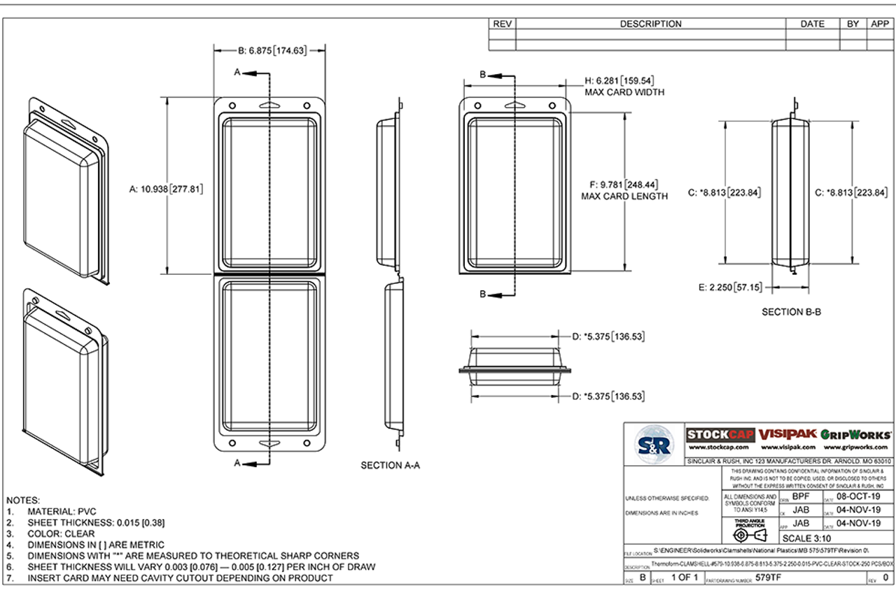 579TF - Stock Clamshell Packaging Technical Drawing