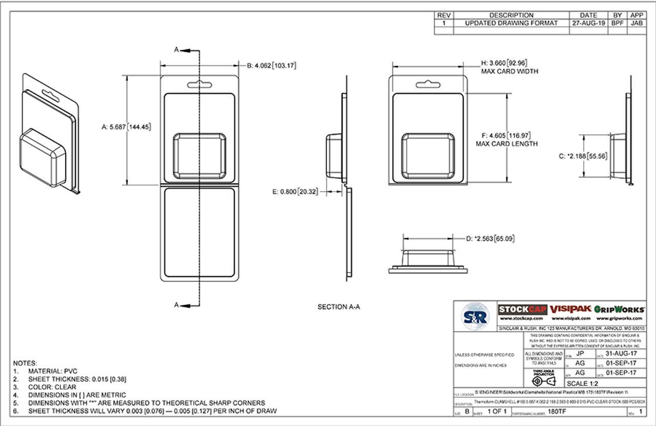 180TF - Stock Clamshell Packaging Technical Drawing