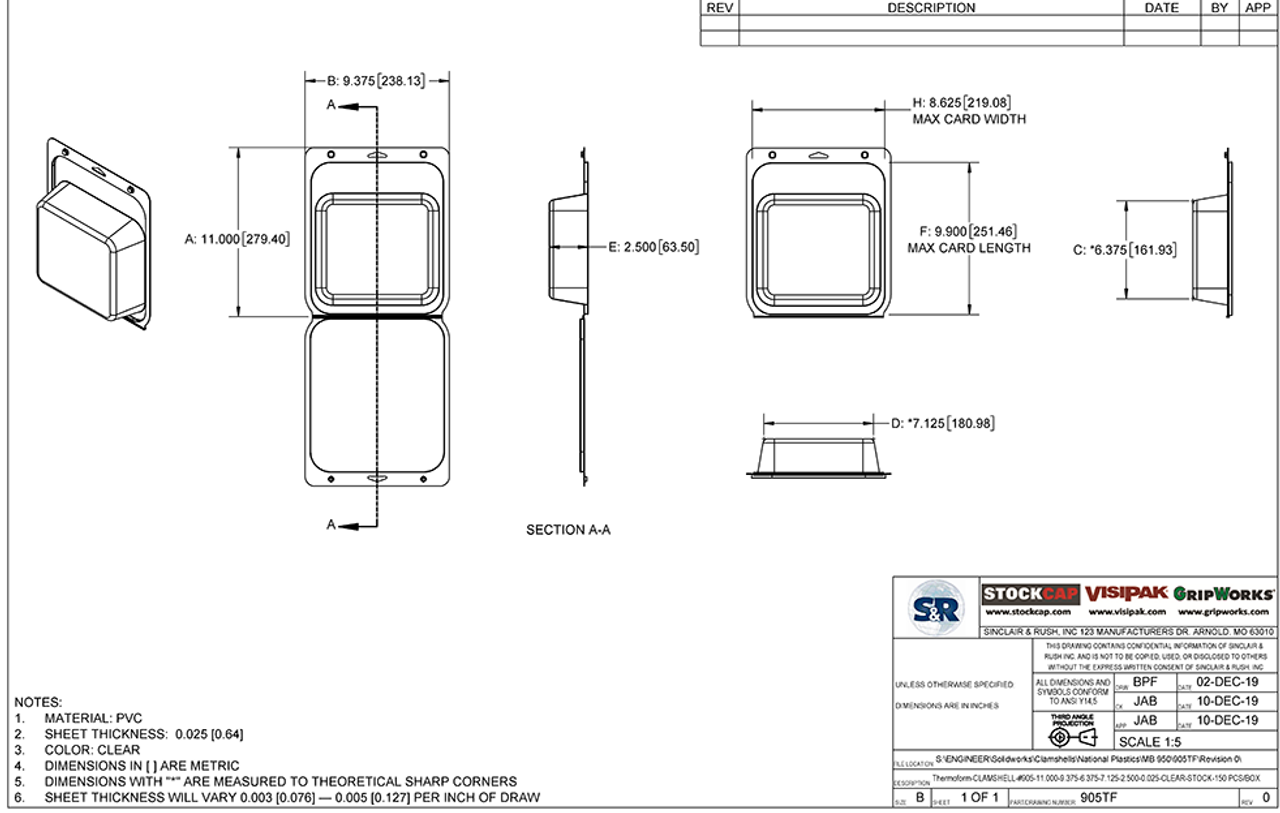 905TF - Stock Clamshell Packaging Technical Drawing