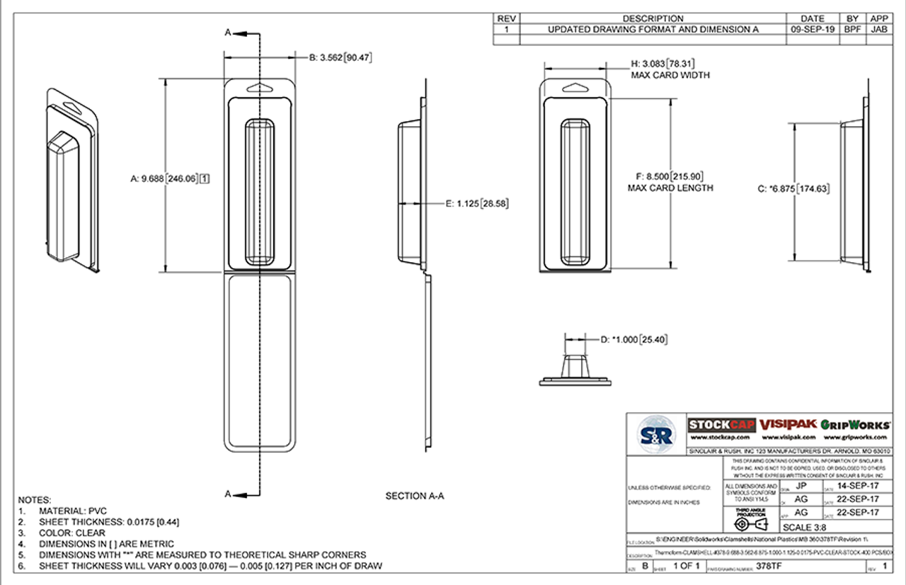 378TF - Stock Clamshell Packaging Technical Drawing