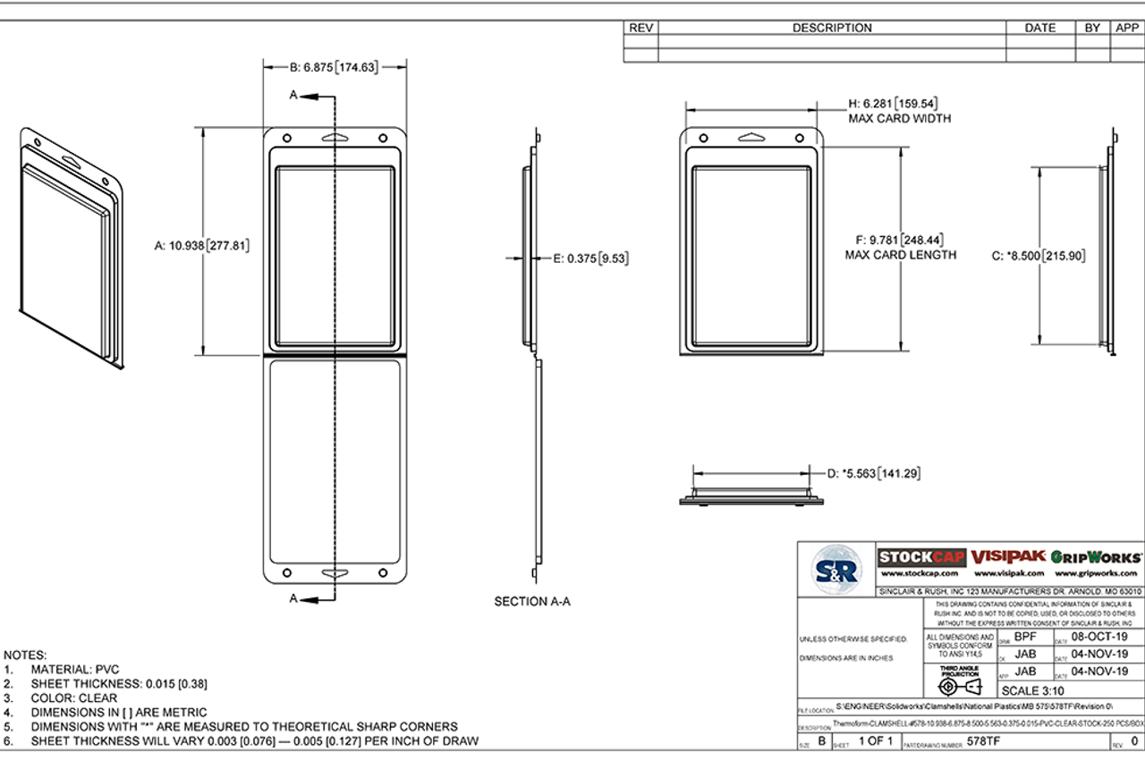 578TF - Stock Clamshell Packaging Technical Drawing