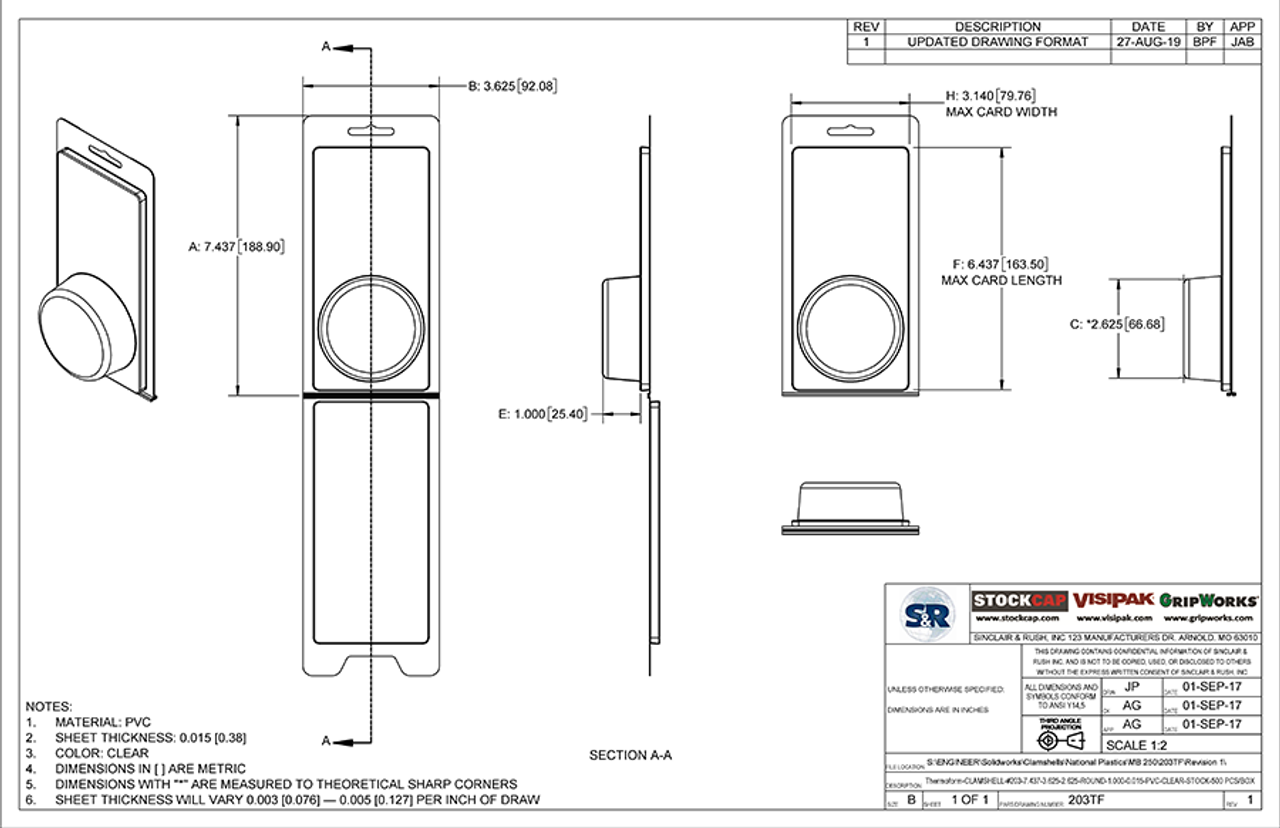 203TF - Stock Clamshell Packaging Technical Drawing