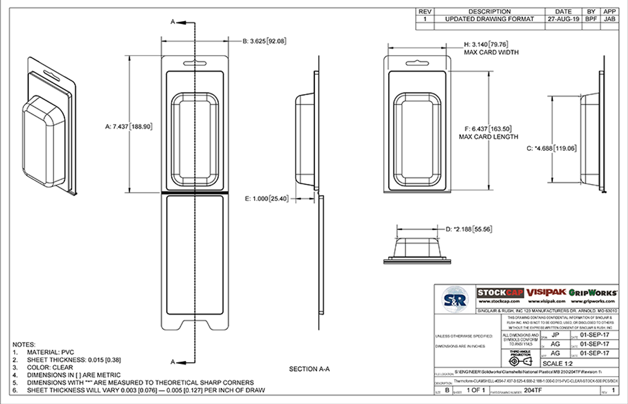 204TF - Stock Clamshell Packaging Technical Drawing