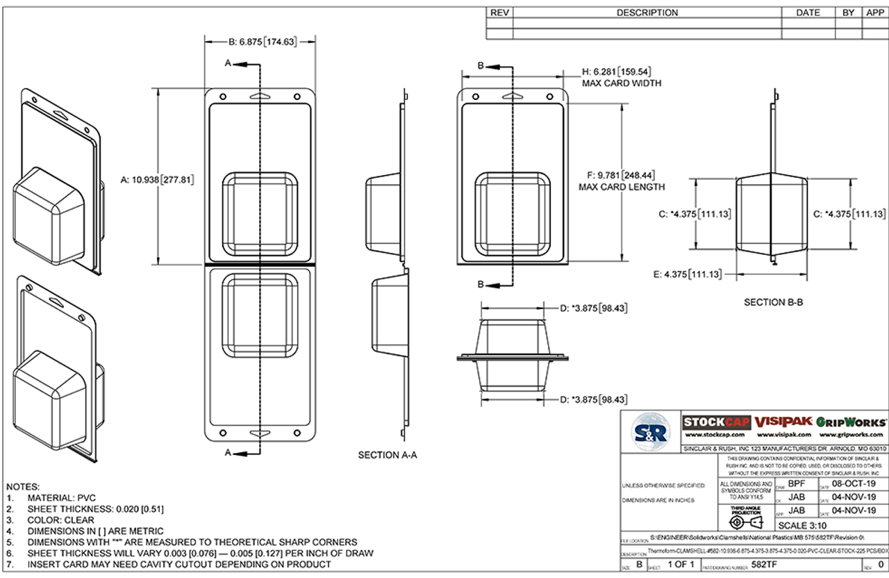 582TF - Stock Clamshell Packaging Technical Drawing