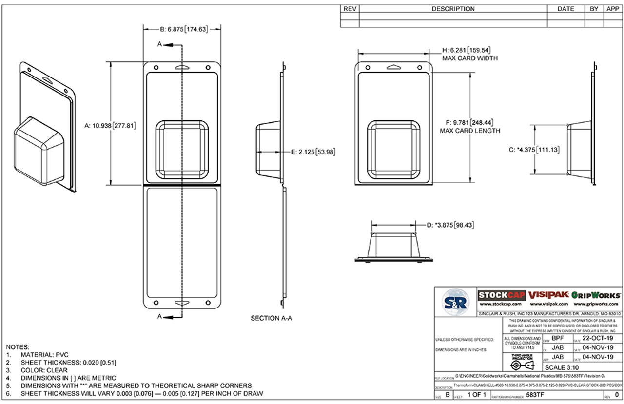 583TF - Stock Clamshell Packaging Technical Drawing