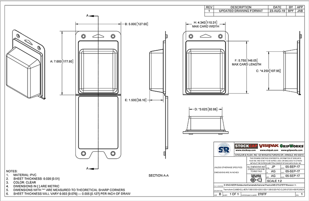 278TF - Stock Clamshell Packaging Technical Drawing
