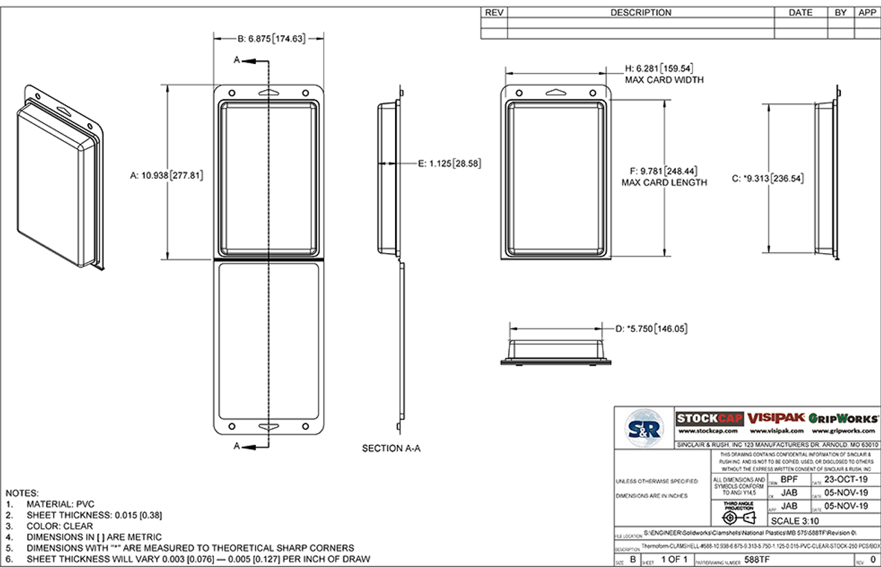 588TF - Stock Clamshell Packaging Technical Drawing