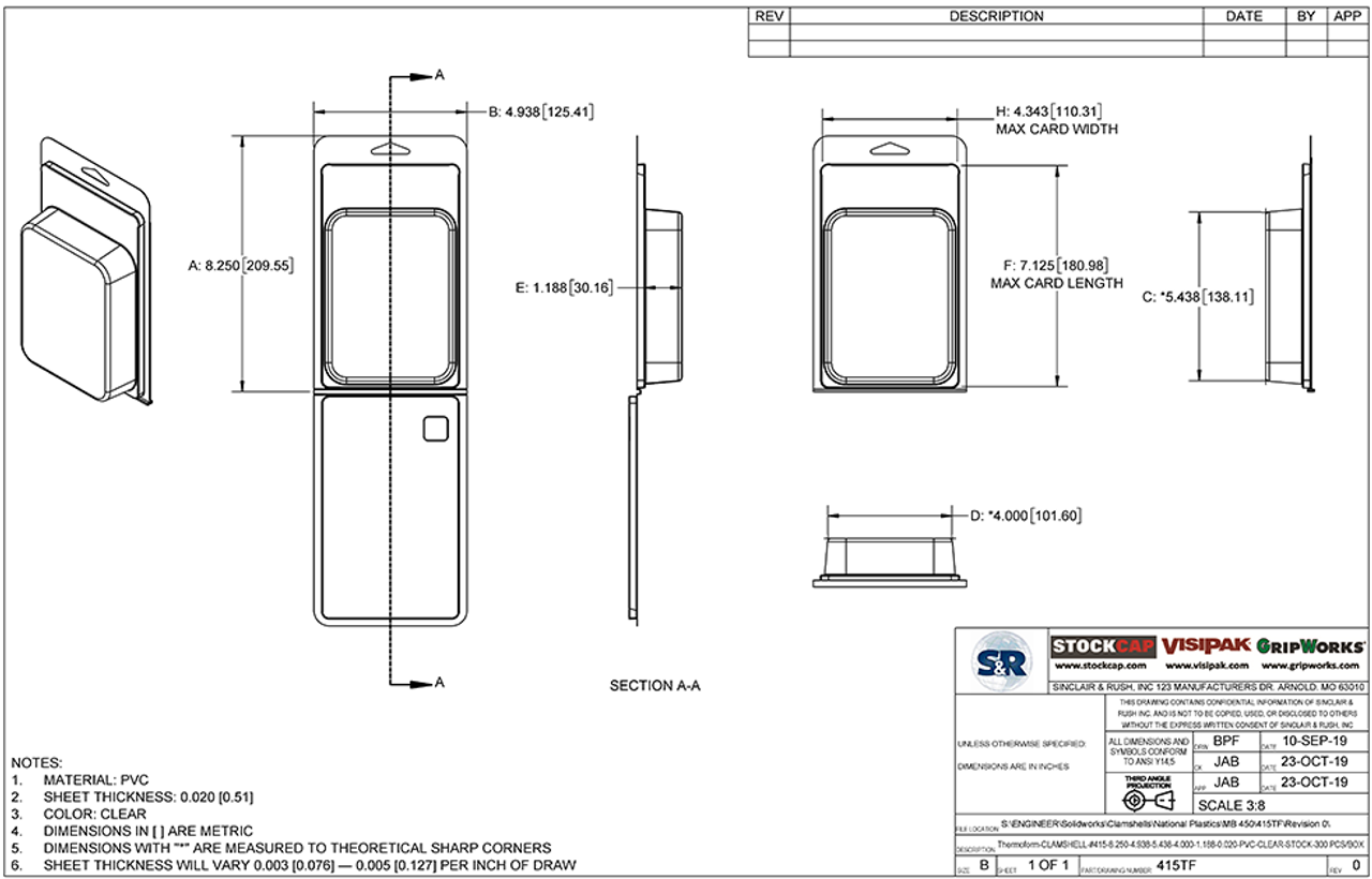 415TF - Stock Clamshell Packaging Technical Drawing