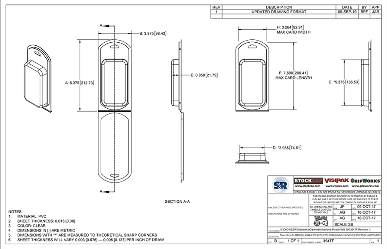 394TF - Stock Clamshell Packaging Technical Drawing