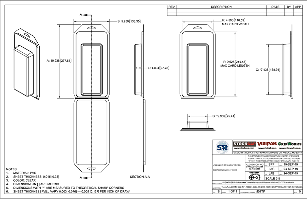 501TF - Stock Clamshell Packaging Technical Drawing