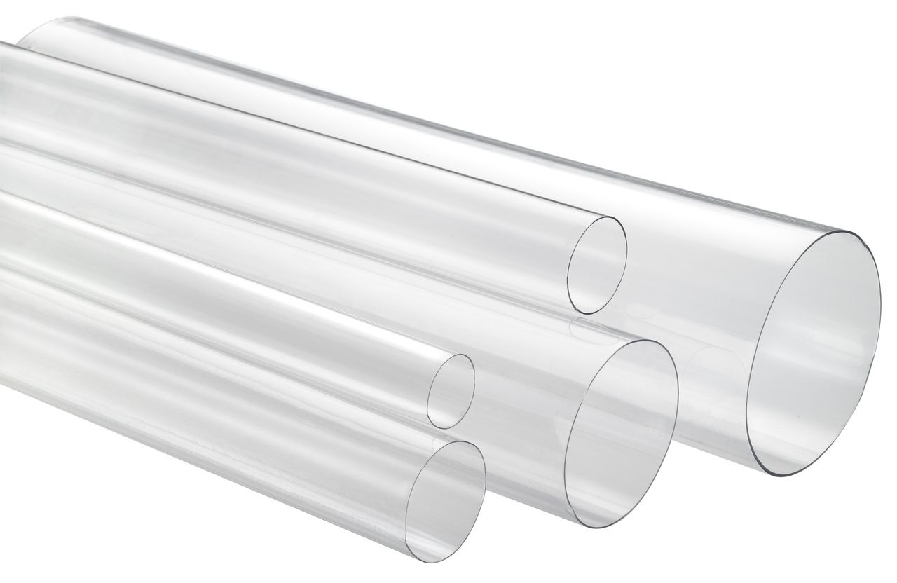 "1-1/8"" x 4' Medium Wall Round Clear Plastic Tube"