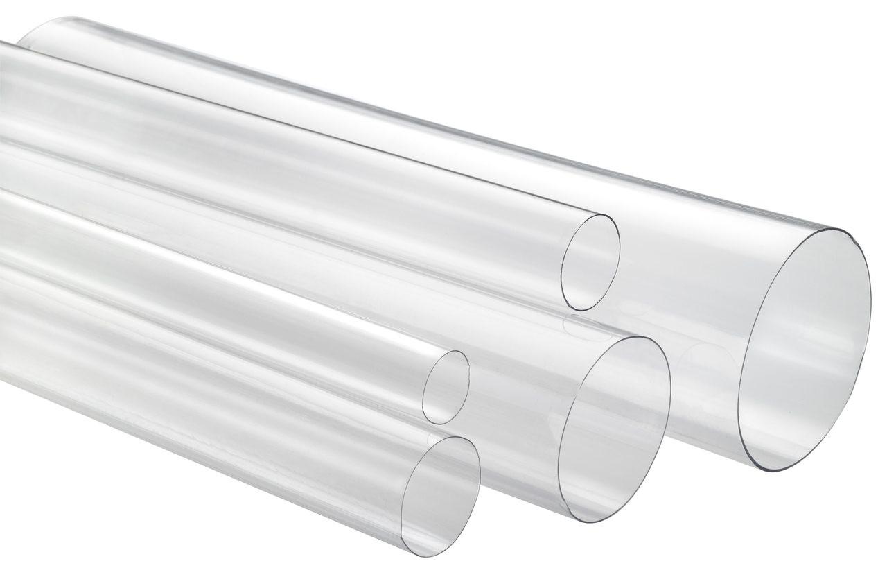 "1-3/8"" x 4' Medium Wall Round Clear Plastic Tube"