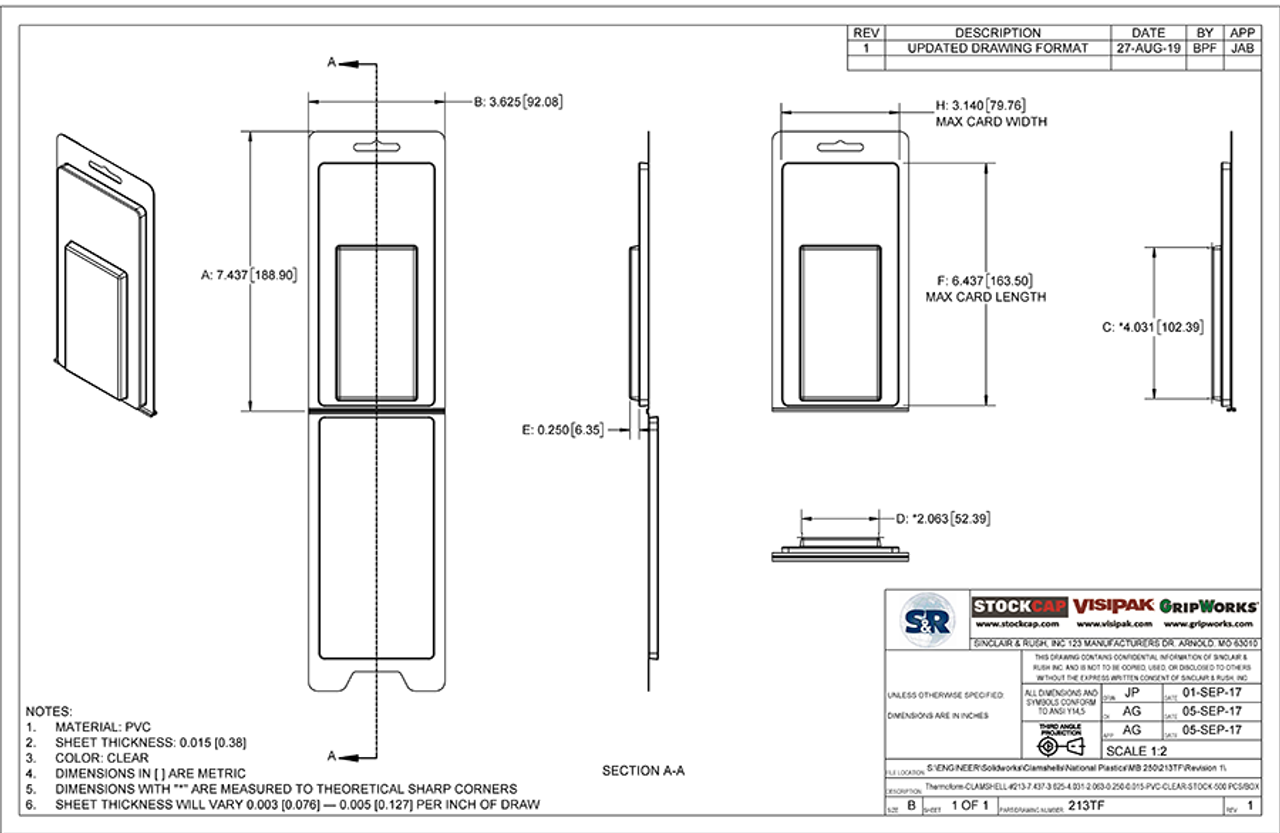 213TF - Stock Clamshell Packaging Technical Drawing