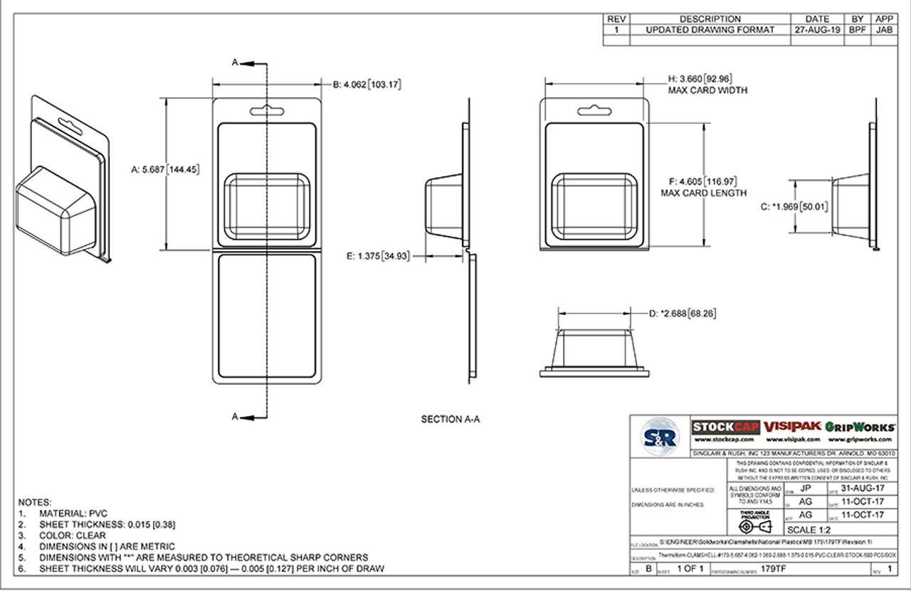 179TF - Stock Clamshell Packaging Technical Drawing
