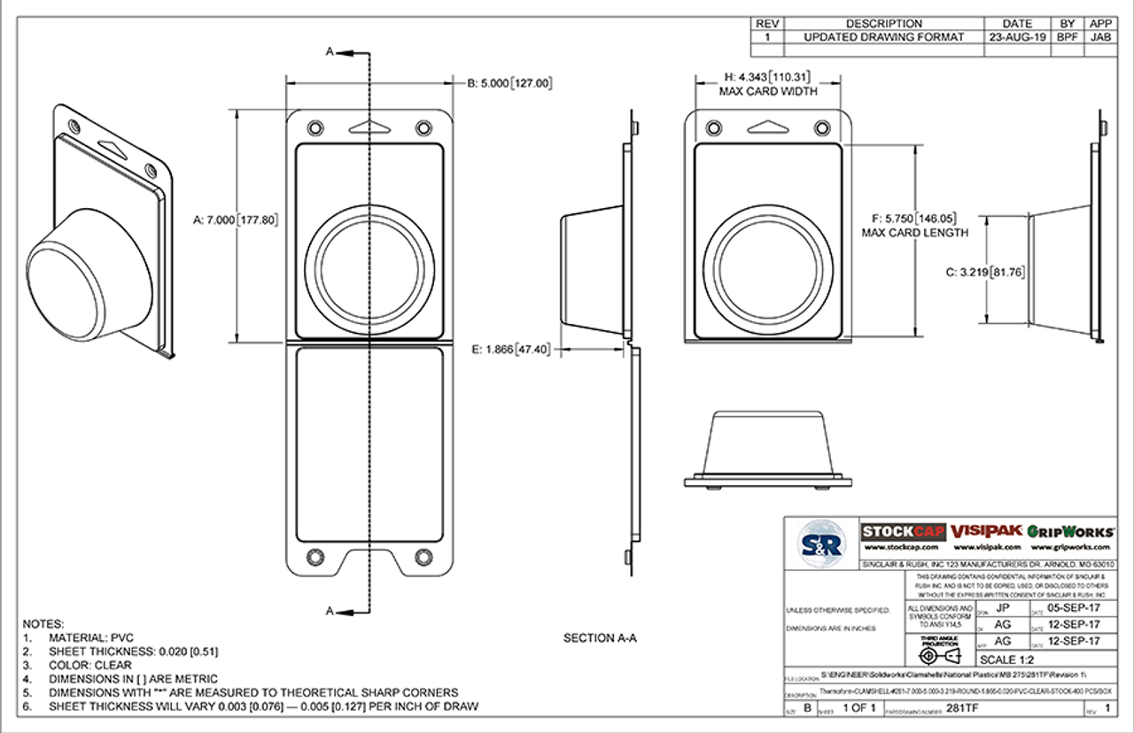 281TF - Stock Clamshell Packaging Technical Drawing