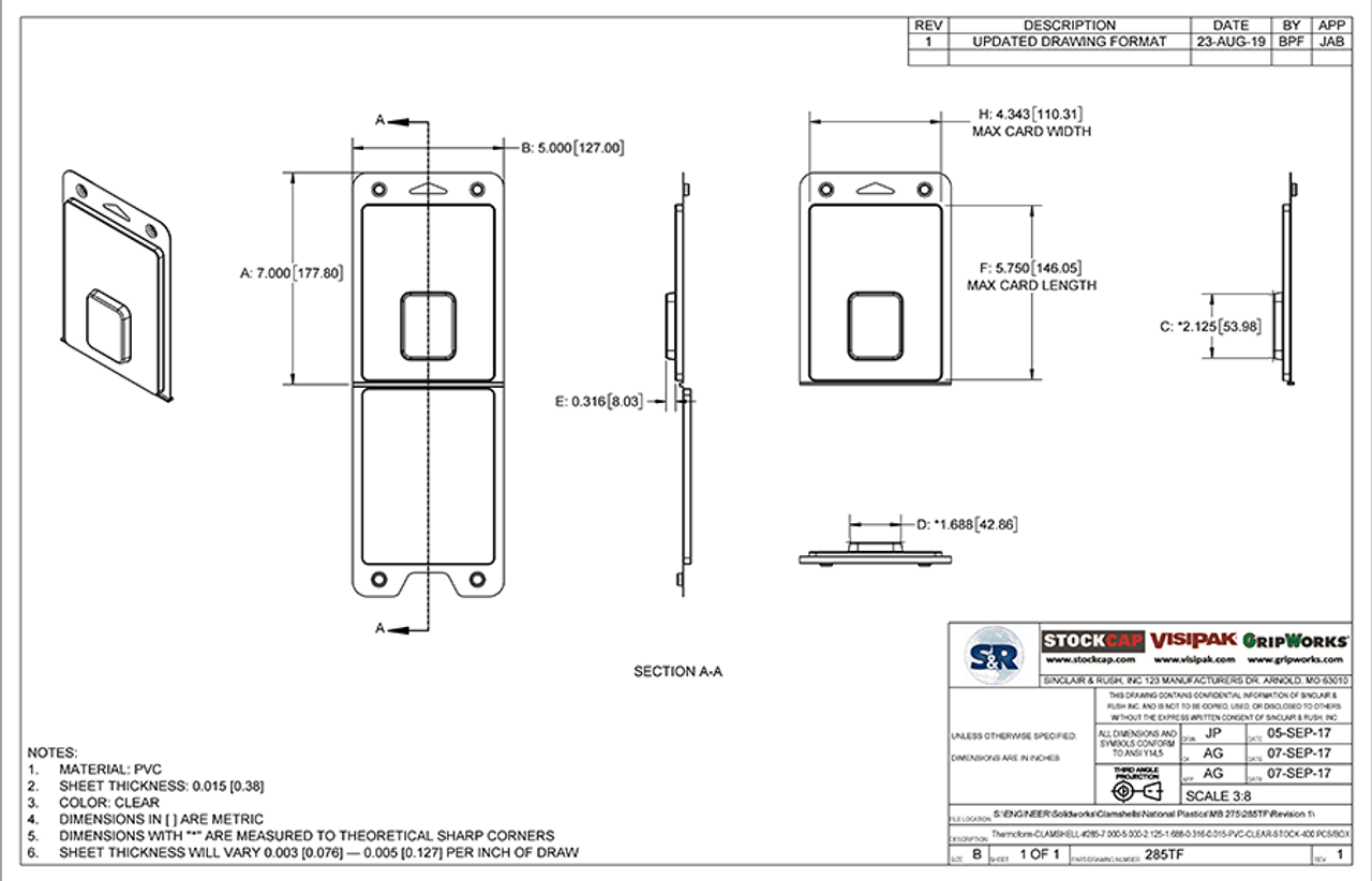 285TF - Stock Clamshell Packaging Technical Drawing