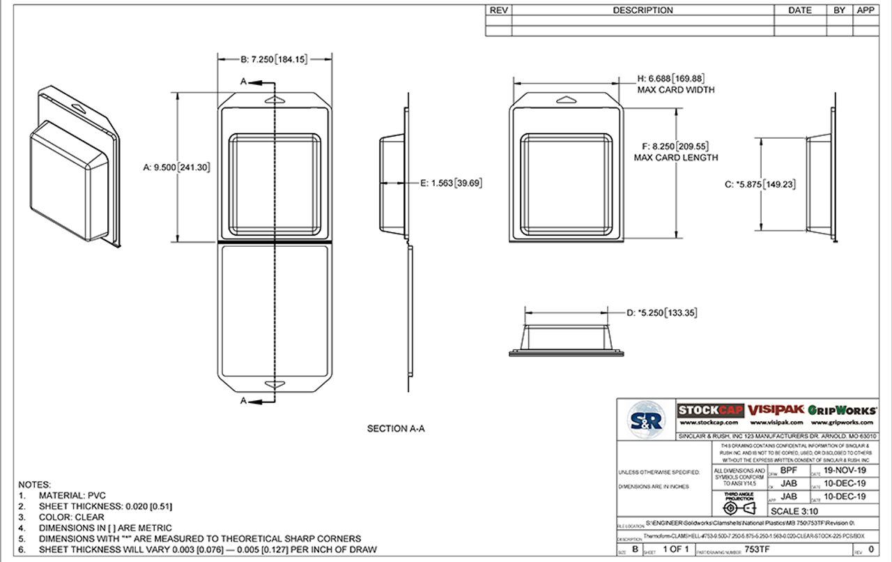 753TF - Stock Clamshell Packaging Technical Drawing